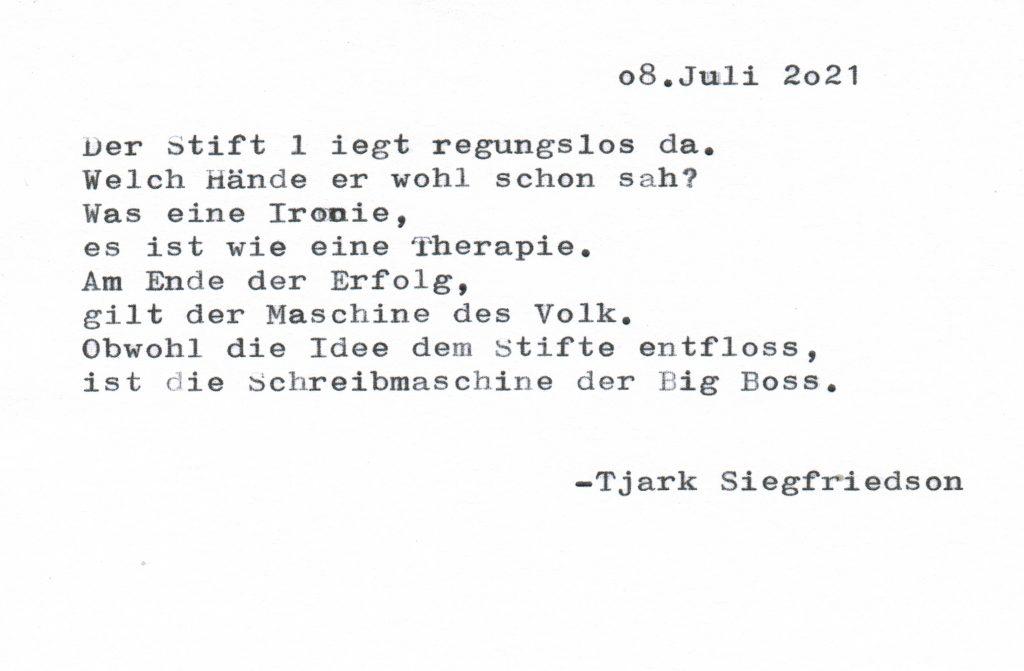 Gedicht, Stift, Schreibmaschine