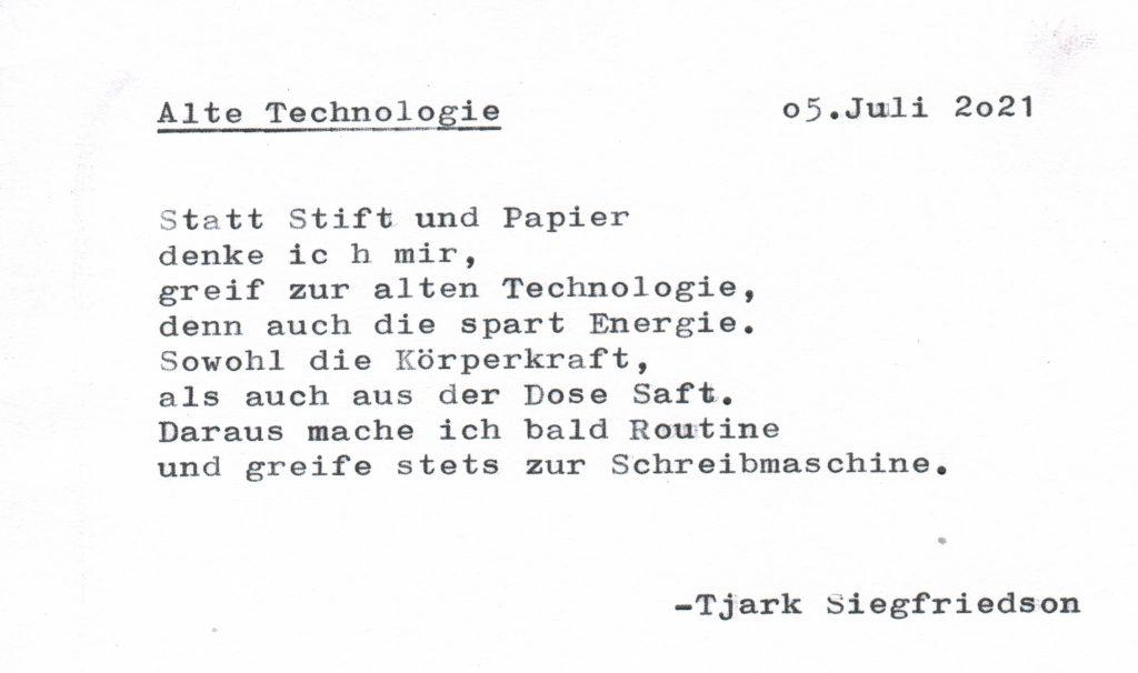 Gedicht, Technologie, Schreibmaschine
